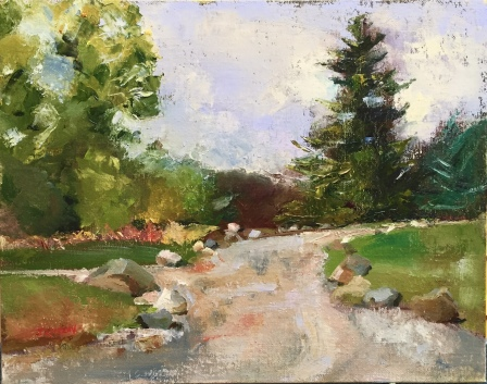 """Rocky Road,"" 11x14, oil on linen panel. Painted at McKeown Park in Hastings, Michigan. $325. Painted plein air, entirely from life in one session."