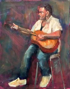 """""""Guitar,"""" 20x16, alla prima sketch, oil on canvas. $650."""