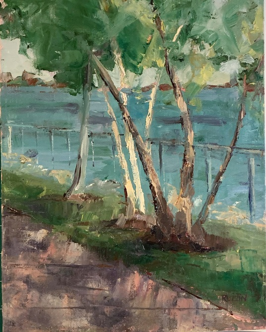 """Birches at Detroit Riverfront,"" 12x9, oil on panel. $295. Plein air; painted entirely from life in one sessioni."