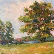 """""""Whispering Trees,"""" 10x10, oil on linen panel. Painted at Michigan Outdoor Education Center in Dowling, Michigan. Plein air with minor studio tweaks."""