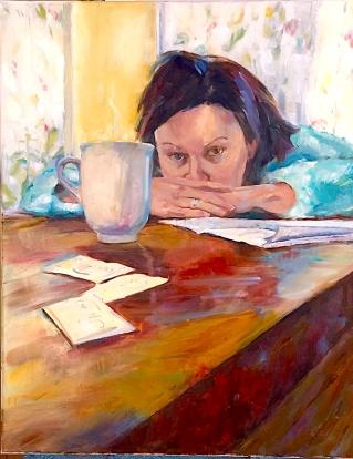 Self-Portrait in Caffeine. 22x28, Oil on Canvas. $1400.