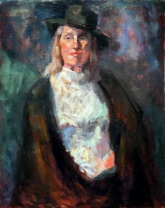 """""""Black Hat,"""" 20x16, oil on linen. Exhibition history: Juried into Body Eclectic 2016"""
