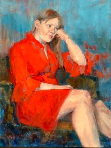 """Red Dress,"" 24x18, oil on canvas"