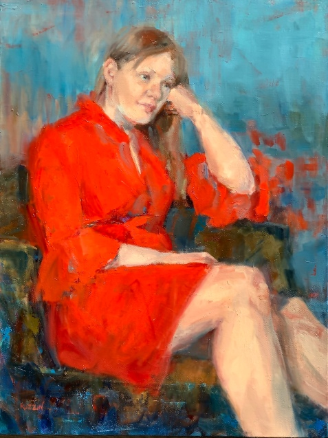"""""""Red Dress,"""" 24x18, oil on canvas"""