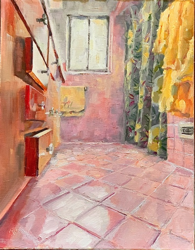 "Pink Interior, 14x11, oil on linen. Exhibition History: Scarab Club ""Lockdown"" show, 2020"