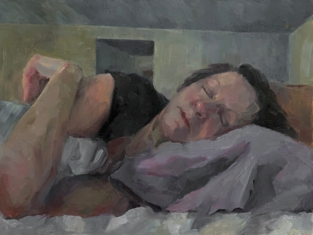 """Wake Me When It's Over,"" Quarantine painting, 12x16, oil on linen."