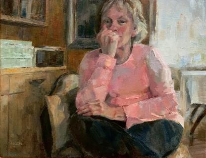"""""""Her Loving Gaze,"""" Oil on canvas."""