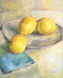 """ON HOLD for an exhibition. """"Make Lemonade,"""" 12x9, oil on linen panel."""