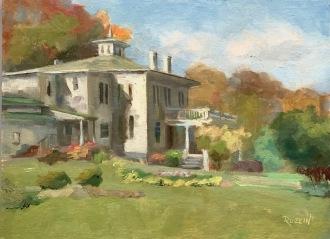 """Governor Warner Mansion,"" plein air, Farmington, Michigan. 9x12, oil on linen panel."