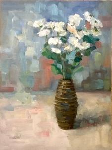 """""""Blue Modernist Floral,"""" 12x9, oil on linen panel."""