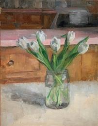 """""""White Tulips,"""" 11x14, oil on linen panel."""