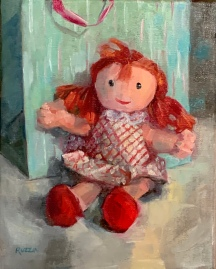 """ON HOLD for an exhibition. """"Christmas Dolly,"""" 8x10, oil on linen."""