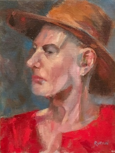 """Hat Like Van Gogh,"" 12x9, oil on linen."