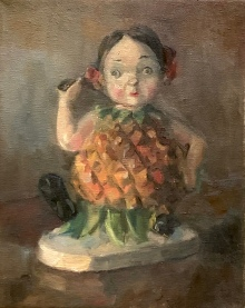 """""""Penny Pineapple."""" A painting of an old chalkware carnival prize. 8x10, oil on linen."""