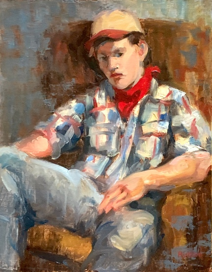"""Plaid Shirt & Cap,"" 14x11, oil on linen panel."