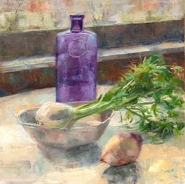 """""""Violet Bottle with Fennel,"""" 12x12, oil on canvas."""