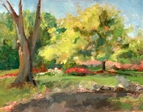"""Day Camp Tree,"" Heritage Park, Farmington Hills, MI. 11x14, oil on linen panel."