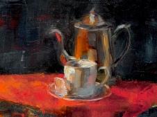 """Silver Teapot,"" 9x12, oil on canvas."