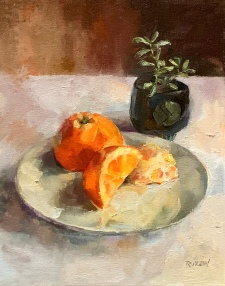"""""""Still Life in Orange,"""" Currently available at the Small Works Show at the Northville Art House. 10x8, oil on linen panel. Exhibition history: Juried into """"Small Works"""" at the Northville Art House."""
