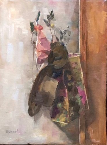 """""""Out the Door,"""" 12x9, oil on linen, $495."""