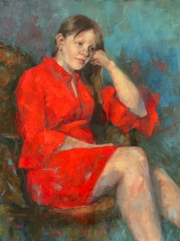 "ON HOLD FOR EXHIBITION. ""Lost In Thought"" 24x18, oil on canvas."