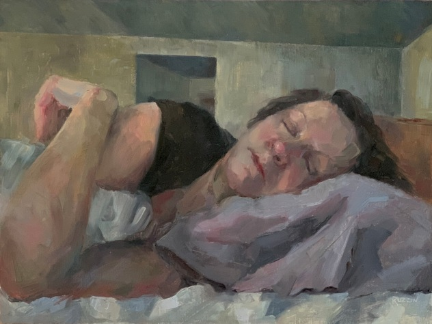 """Wake Me When the Pandemic Is Over,"" 12x16, oil on linen panel. $795. Exhibition history: Currently on exhibit at the Northville Art House. Prior to that, juried into The Gold Medal Show at the Scarab Club and included in the prestigious Portrait Society of America quarterly magazine."