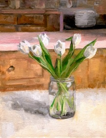 """ON HOLD for an Exhibition. """"Tulips in Ball Jar,"""" 14x11, oil on linen panel. It looks amazing in person. Uploader making it slightly wonky. Painted from life."""